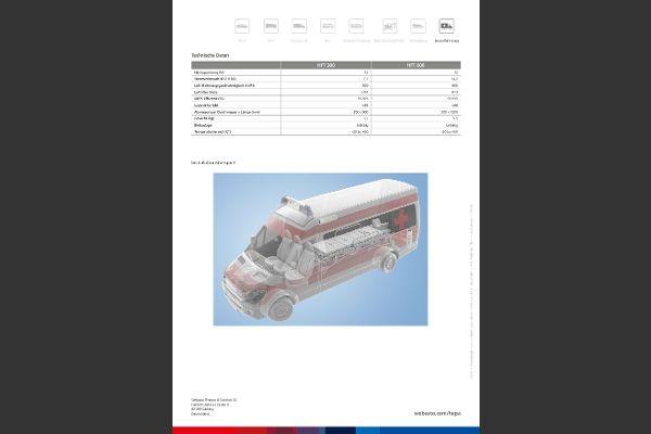 HEPA-Luftfiltersystem für Ambulanzen, technische Daten.