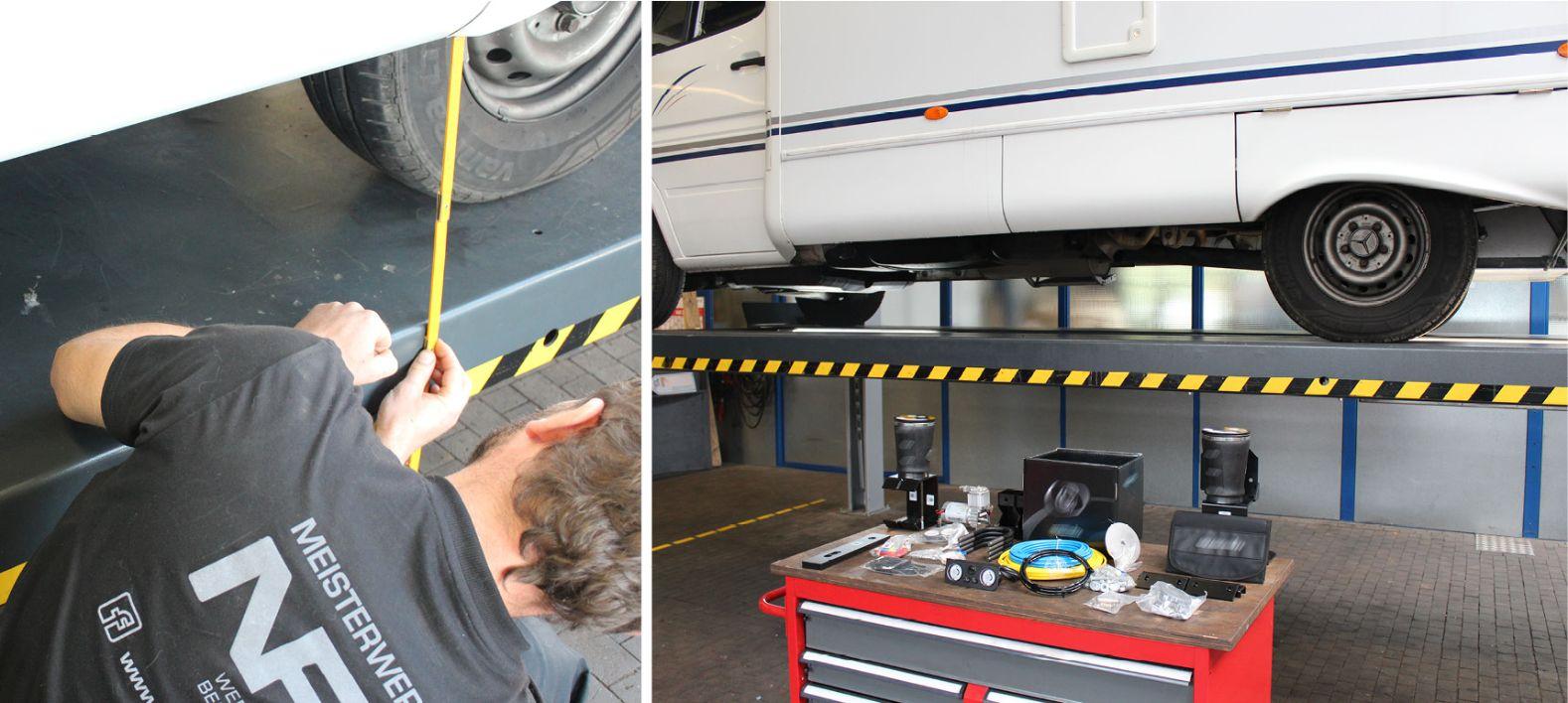 Nachrüstung Luftfederung an einem Wohnmobil